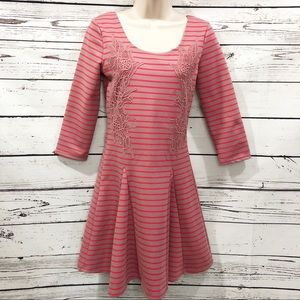 Free People Striped Fit & Flare Dress: Red Comb